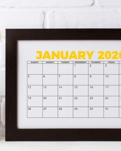 January 2020 calendar printable in frame