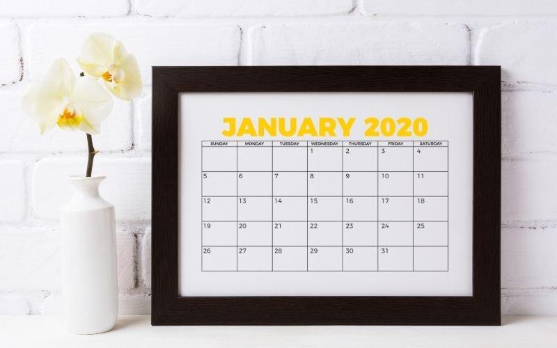 January 2020 calendar printable in frame