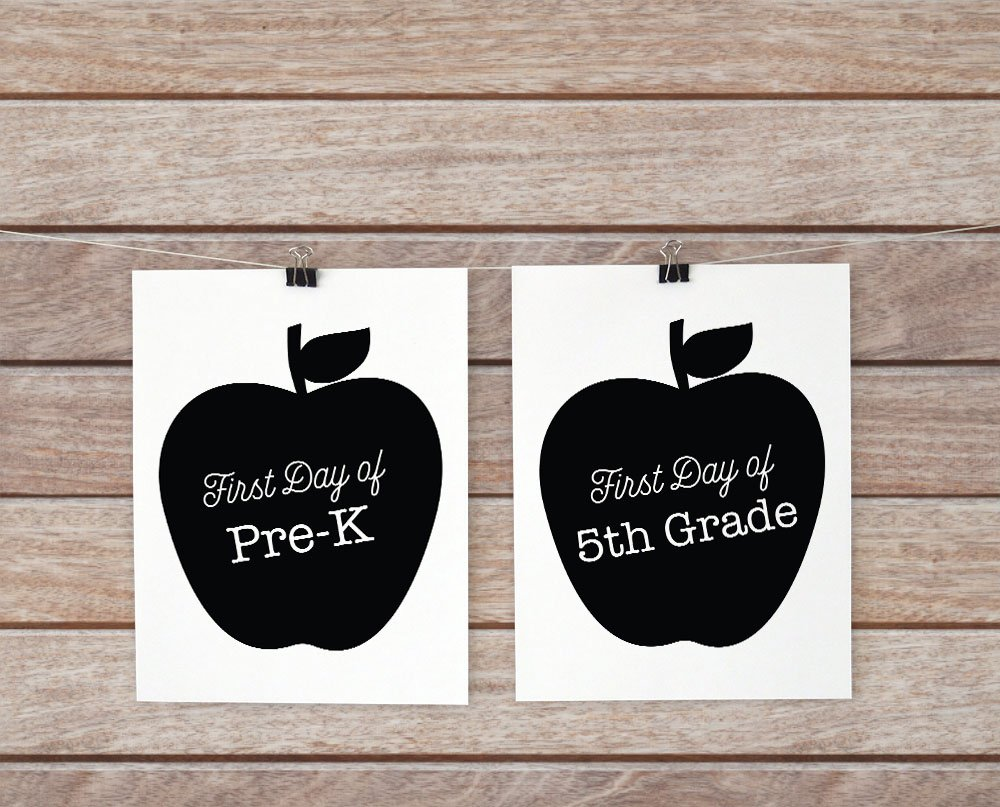 first day of school signs with apples