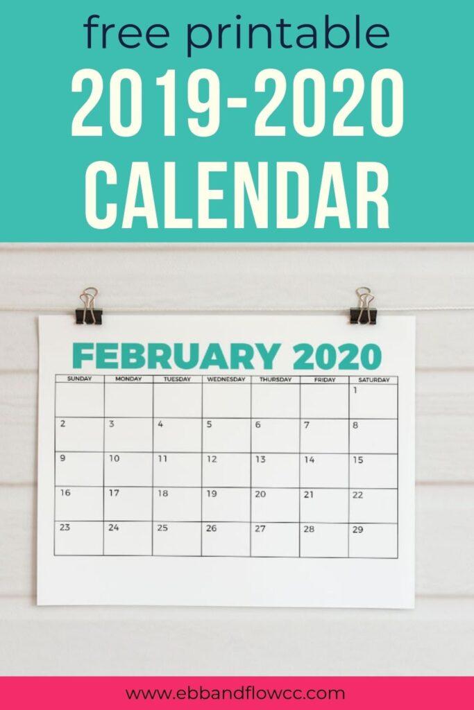 2019-2020 printable calendar