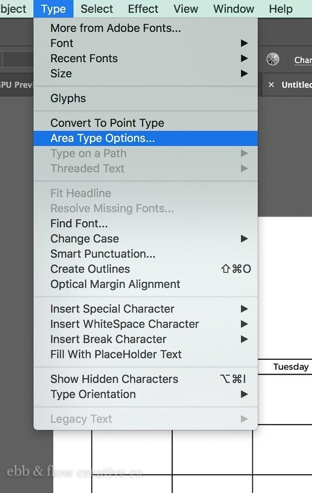 area type options