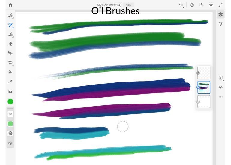 oil brushes on fresco