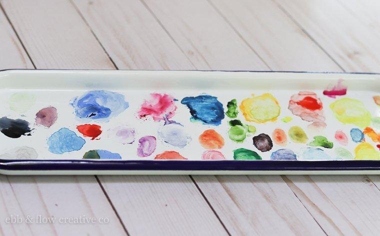 enamel watercolor palette for paint mixing