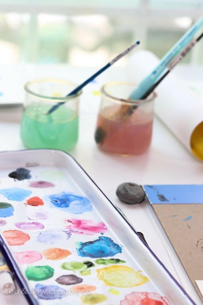 using oui yogurt jars for watercolor water cup