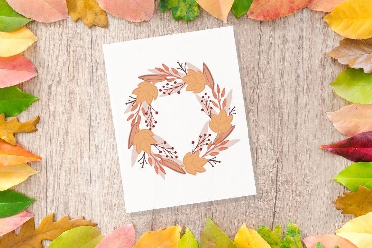 autumn leaf wreath printable
