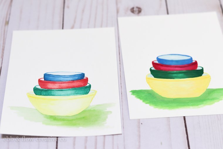 paintings of vintage pyrex using watercolors and gouache