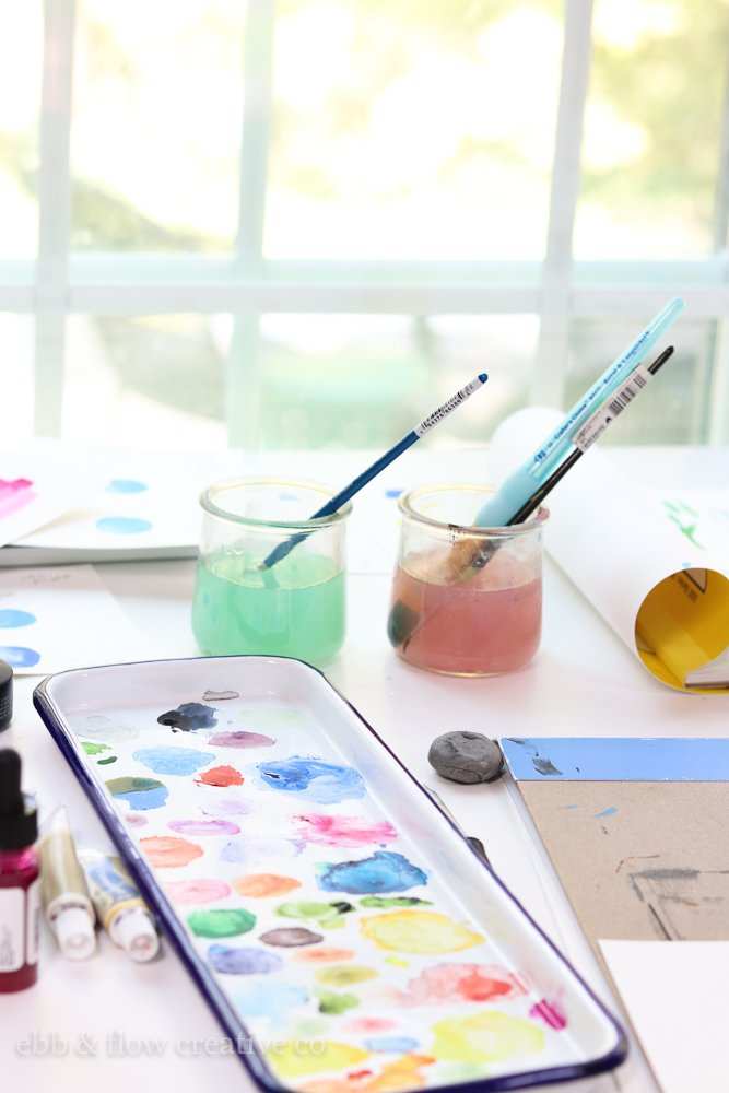 water cups and paint palettes