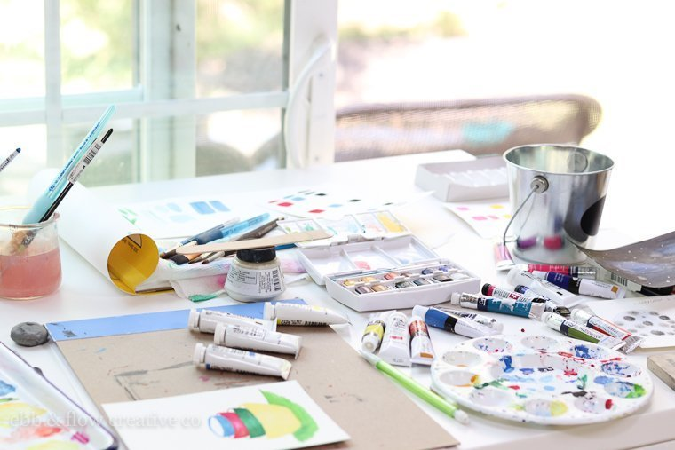 watercolor paints in use