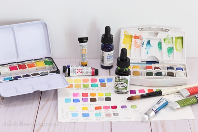 watercolor pans, tubes and liquids