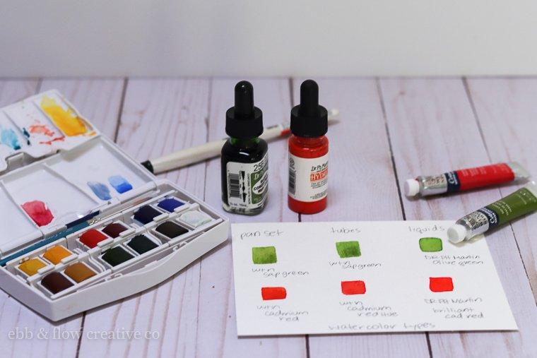 watercolor pans, tubes and liquids comparison