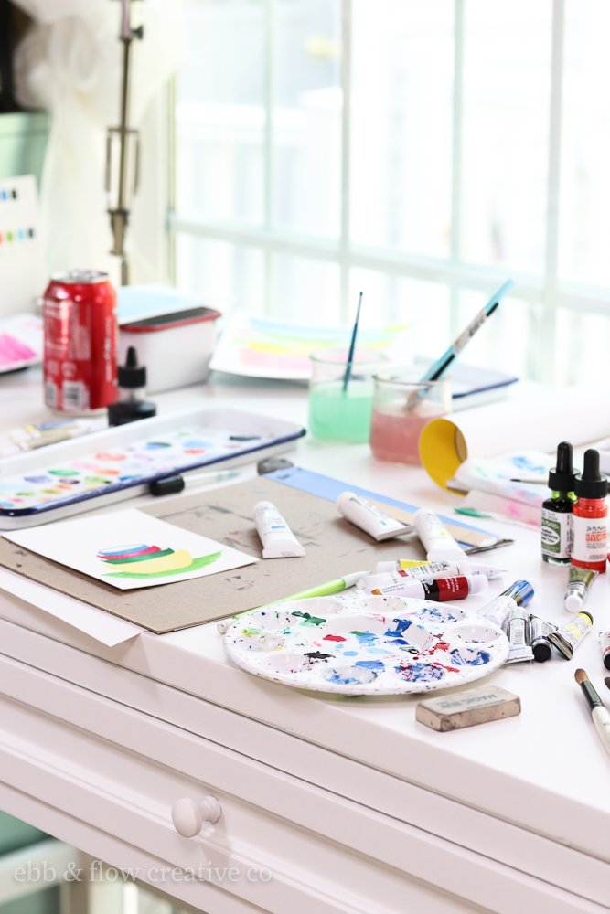 watercolors in use
