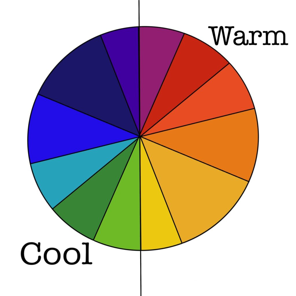 color wheel showing cool and warm sides