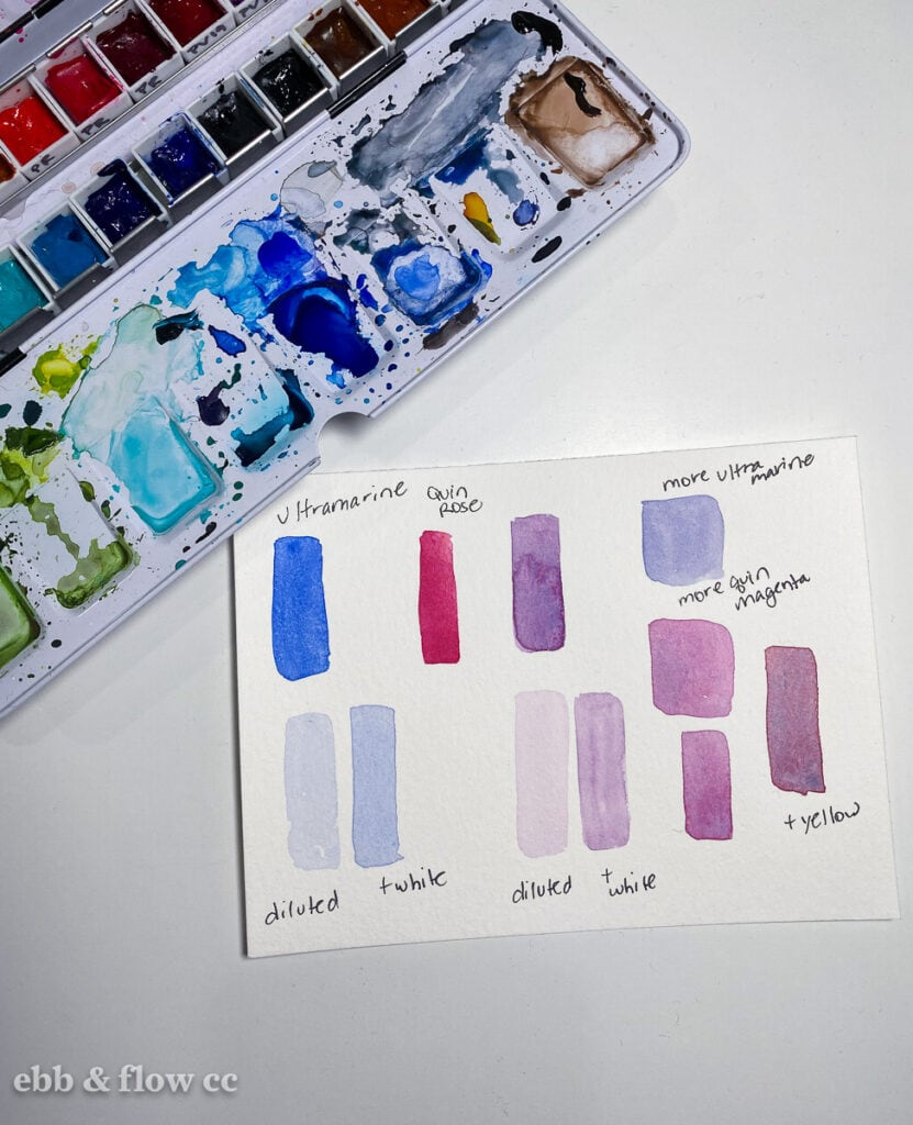 purple watercolor swatches