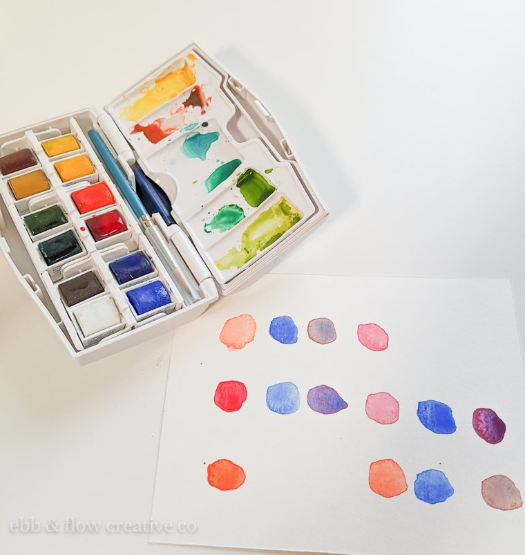 watercolor swatches using winsor & newton palette