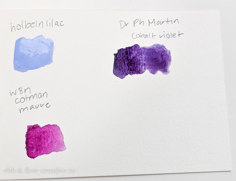 ready made purple watercolor swatches