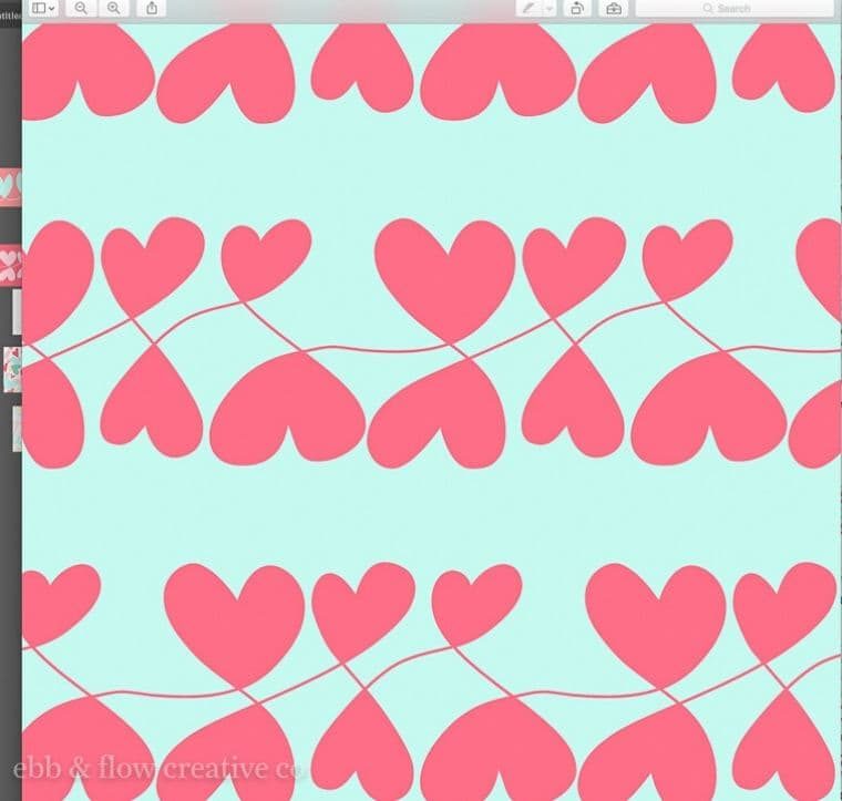 seamless loopy heart pattern without lines