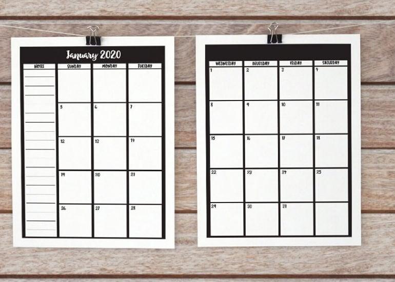 Calendar printable mockup