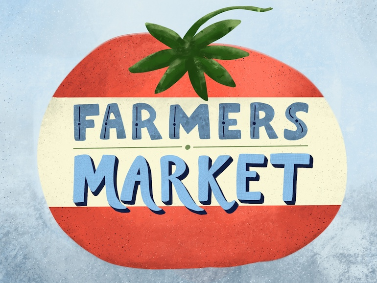 hand lettered illustration of tomato with farmer's market