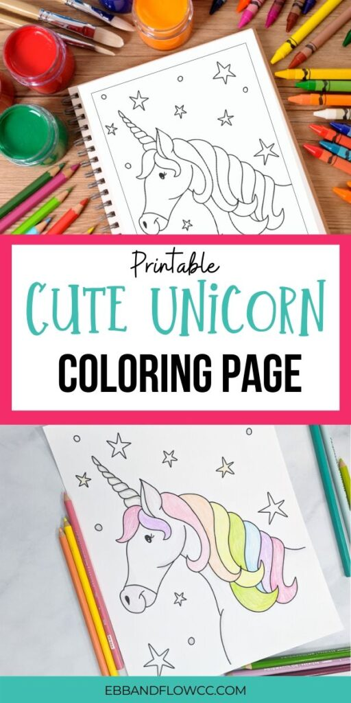 pin image - cute unicorn coloring page collage