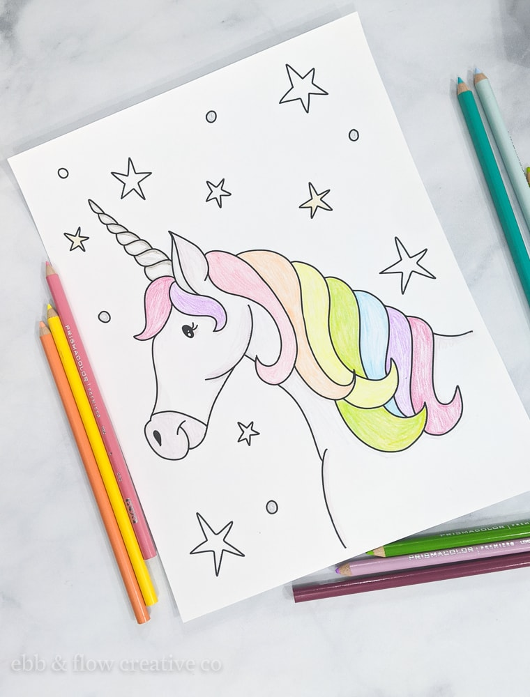unicorn colored with colored pencils