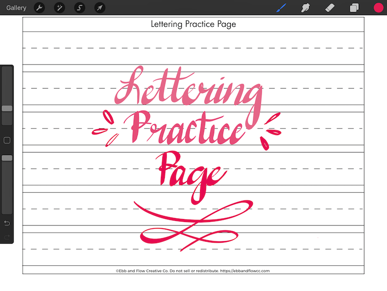 using ipad to practice lettering