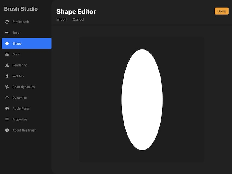 invert shape in procreate brush studio