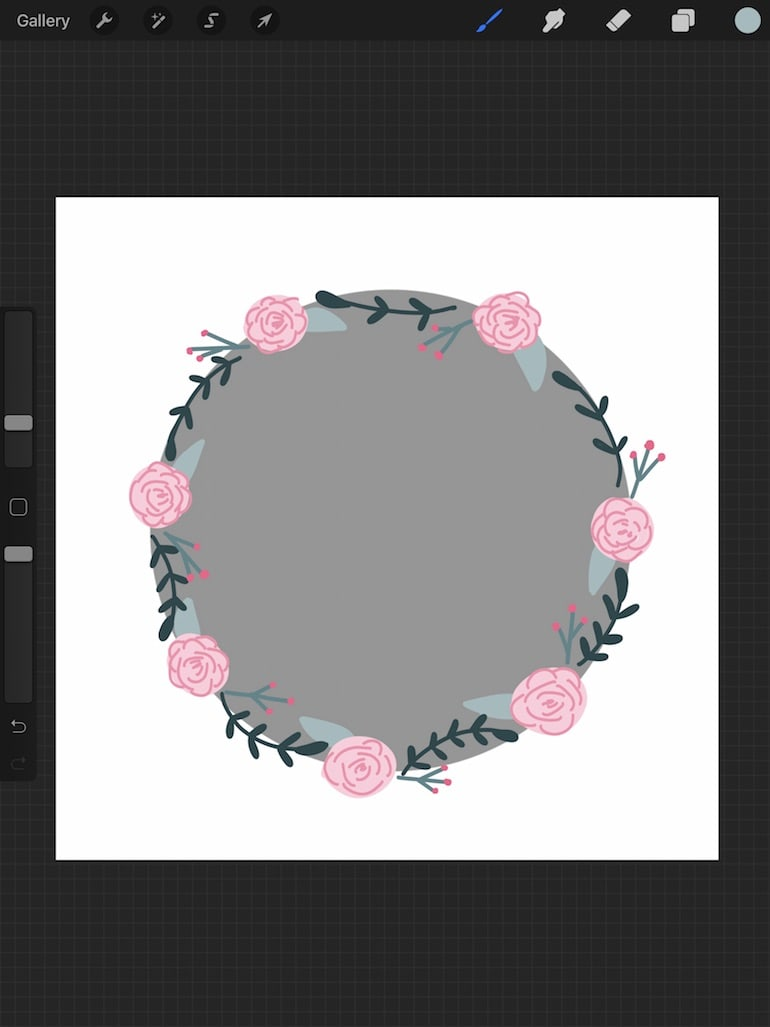 using circle in procreate as template for wreath