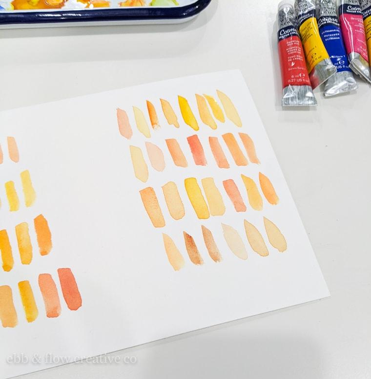 orange watercolor swatches
