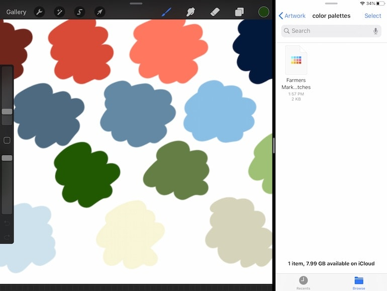 screenshot showing how to import color palettes in procreate