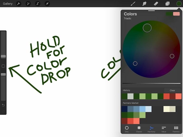 screenshot of harmonious color palette on procreate