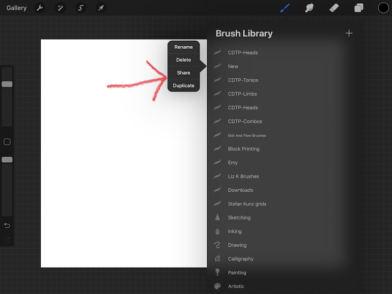 exporting a brush set in procreate