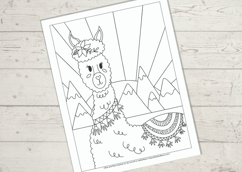 coloring page with cute llama on wood background