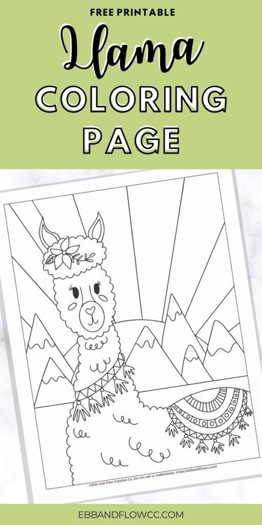 pin image - llama coloring page