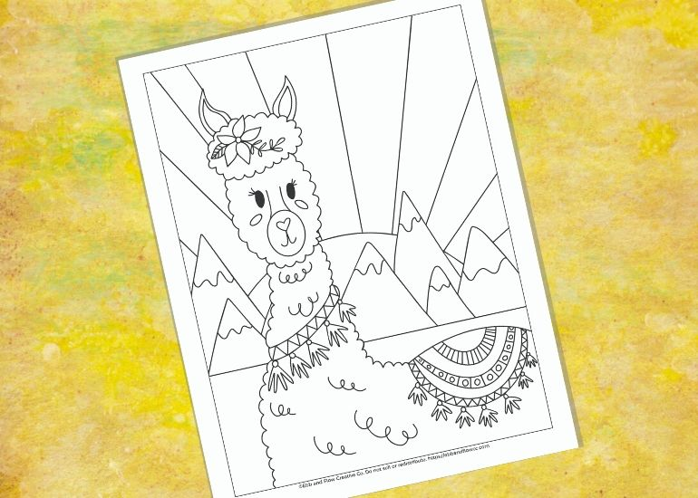 yellow background with llama illustration page