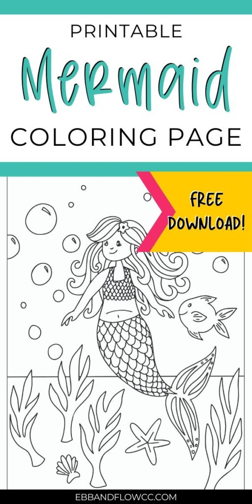 pin image - mermaid coloring page