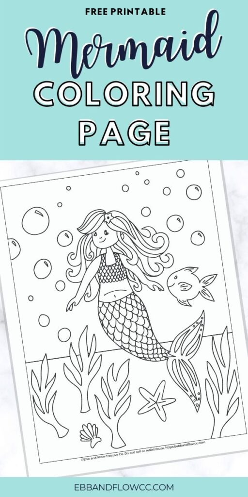 pin image - mermaid coloring page collage
