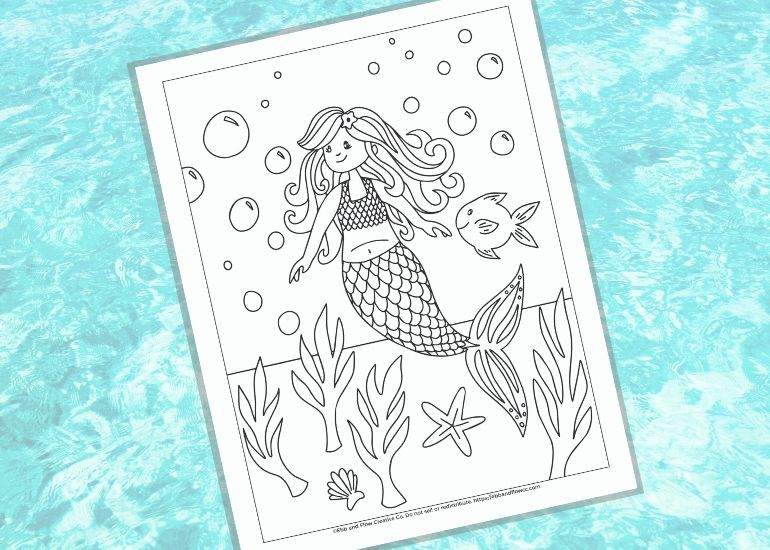 mermaid coloring page on watery background