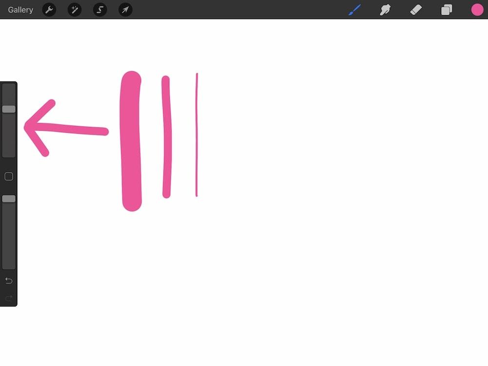Procreate brush size slider