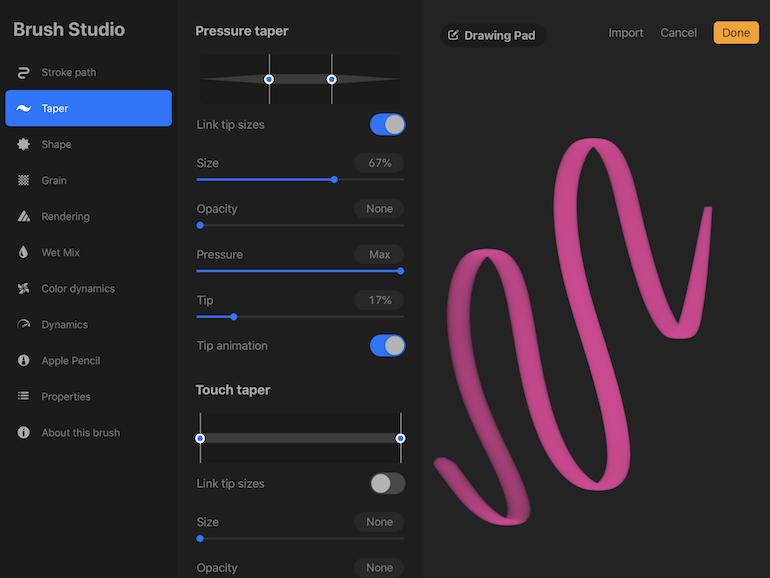 taper settings in procreate 5