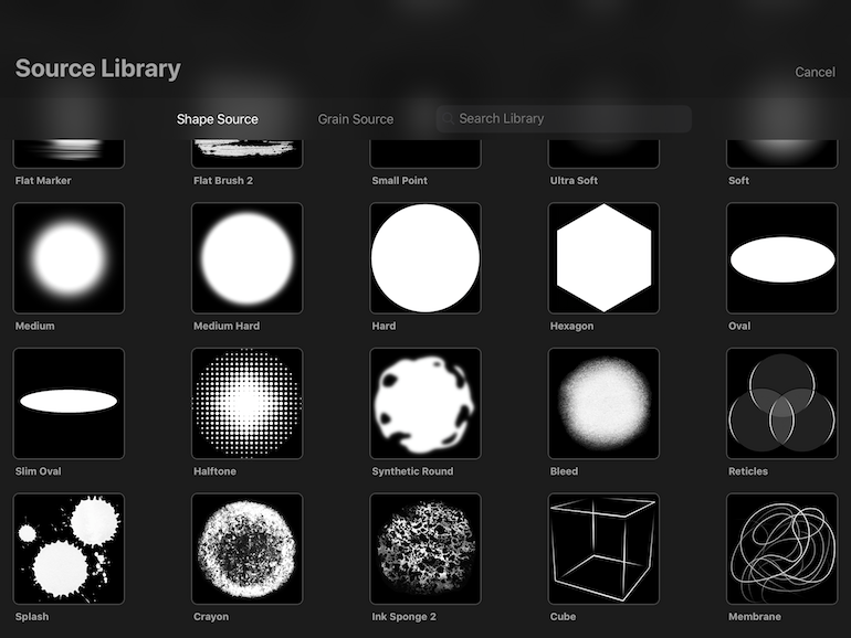 shape options in source library of Procreate 5 brush studio
