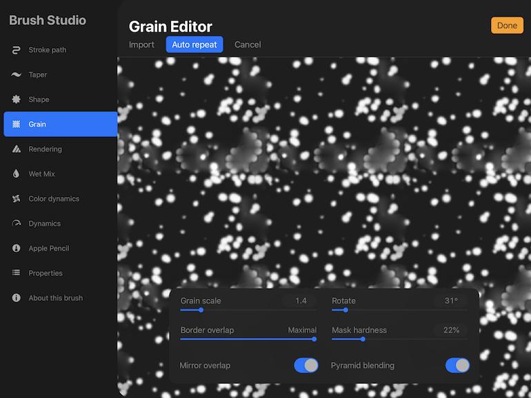 auto repeat settings for grain
