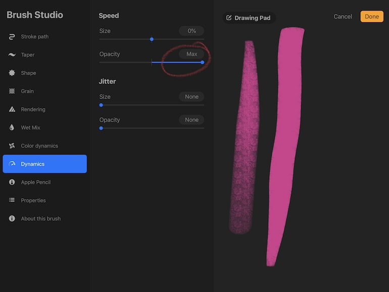opacity settings for speed dynamics