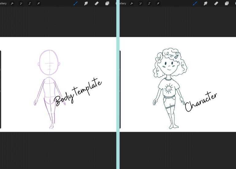 using body templates in procreate to draw girl character