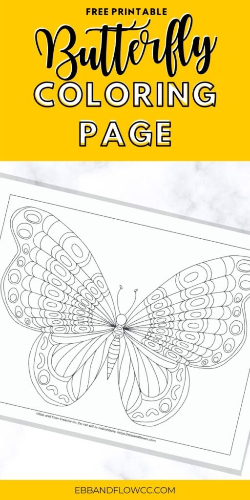 pin image - butterfly coloring page with text overlay