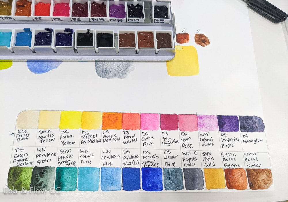 watercolor palette swatch sheet