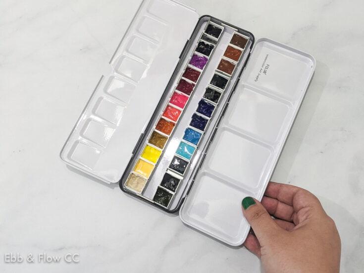 custom filled watercolor pan palette