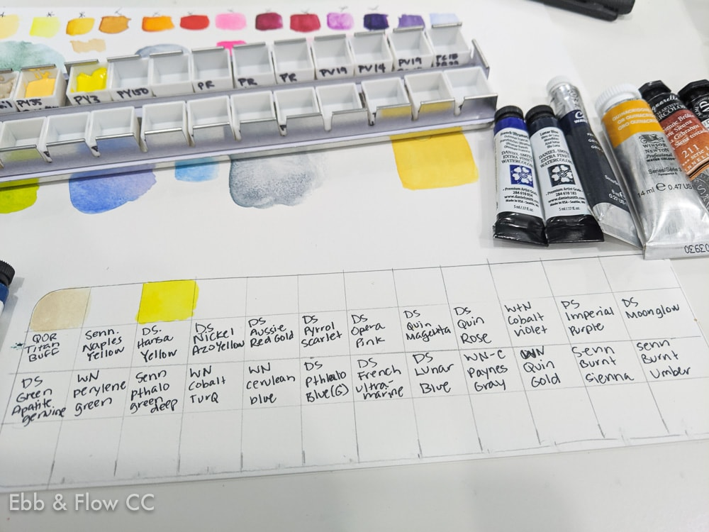 watercolor swatch sheet for palette