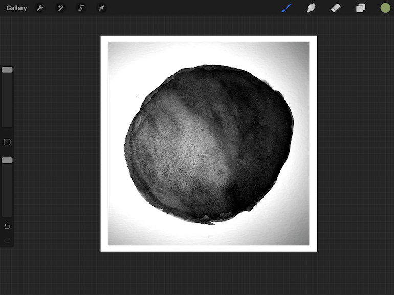 imported watercolor spot in procreate