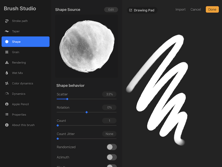 adding texture by adding scatter to brush
