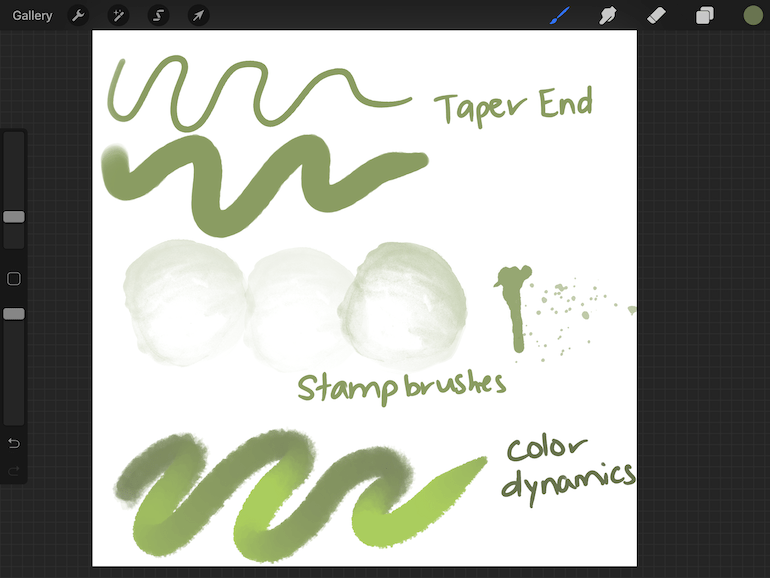 Variations for watercolor brushes